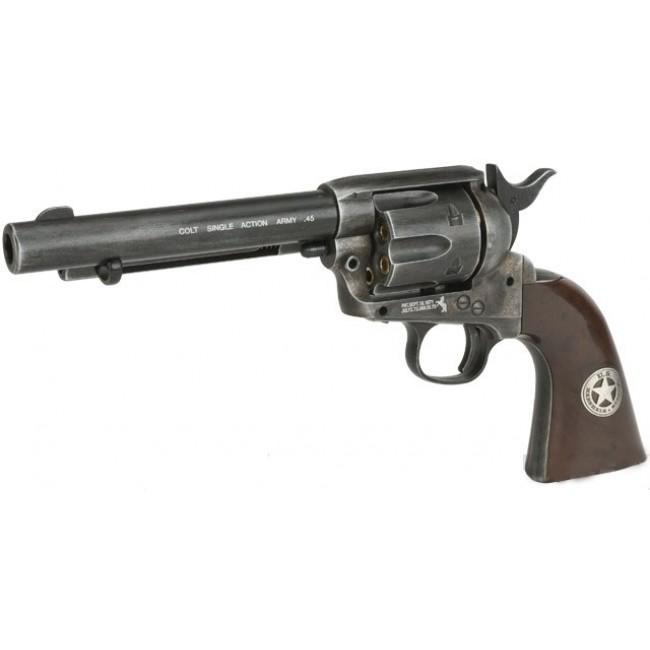Gun Heaven CO2 Powered 1873 Single Action Airsoft Revolver (Color: High Polish Silver)